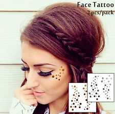 Gold Dots Temporary Face Tattoo Glitter Stickers Festival Flash Tattoos Kit