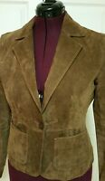 New York & Company Women's Brown Genuine Suede Leather Jacket Size 8 Medium