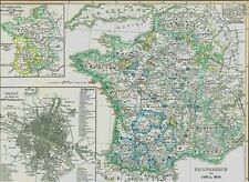 Landkarte FRANKREICH 16. Jahrhundert ⚜️⚜️⚜️Paris Poitou Perigord Bretigny 1846