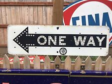 Vintage Original Reflective One Way California Public Works Porcelain Sign
