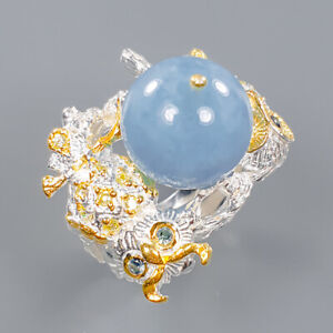 Aquamarine Ring Silver 925 Sterling Charming blue Color Size 8.75 /R140402