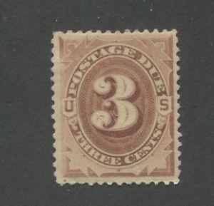 1879 Due Stamp #J3 Mint Very Fine Disturbed Original Gum