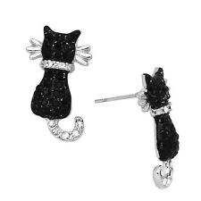 Black Cat Fashionable Earrings - Stud - Sparkling Crystal