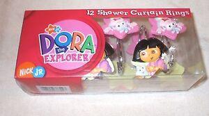 """Nick Jr. """"DORA the EXPLORER & BOOTS"""" 12 shower curtain rings hooks NIB"""