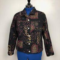 Chico's Design Women's Size 2 Large Beaded Black Print Jean Jacket 100% Cotton