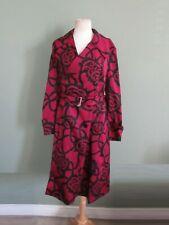 DRIES VAN NOTEN 100% polyester dark fuschia & black patterned belted coat S