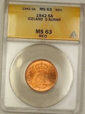 1942 Iceland 5A Five Aurar Copper Coin ANACS MS-63 Red (B)