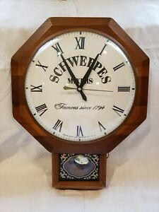 Vintage United Clock Corp/Sessions Mvmt Schweppes Mixers Advertisement Clock