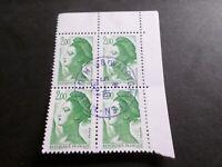 FRANCE BLOC timbres 2484 LIBERTE' DELACROIX, oblitéré 1987 cachet rond, QUARTINA
