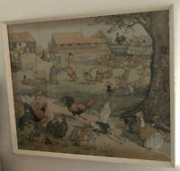 Molly Brett Farmyard Animals Antique Framed Watercolour Drawing Cartoon Print.