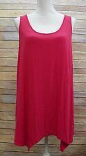 GH Bass & Co Womens Sleeveless Asymmetrical Hem Solid Stretch Tank Top Pink XL