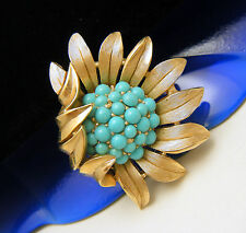 Crown Trifari Vintage Brooch Turquoise Lucite Bead Flower Pin Gold Tone