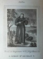 S. Diego d'Alcala 12 Novembre 1840 Incisione Santino Acquaforte Stampa Banzo