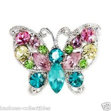 Rainbow BUTTERFLY made with Swarovski Crystal Cocktail Adjustable Statement Ring