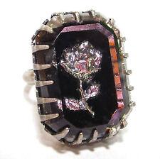 SoHo® Ring mit großem handgemachten böhmischen Strassstein achteck schwarz rose