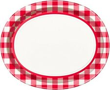 SUMMER Red Check EXTRA LARGE OVAL PLATES (8) ~ Birthday Party Supplies Dinner
