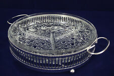Vintage Glass 3 Section Hors D'Oeuvres Dish Boxed Silver Plated Holder D'Oeuvre