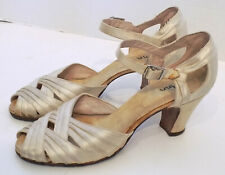 Vintage 40s Candlelight Satin Peep Toe Shoes High Heels 6 - 6 1/2