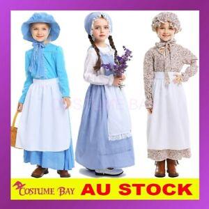 Girls Pioneer Olden Days Costume Pilgrim Frontier Colonial Victorian Book Week