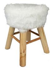 Design Fell Hocker weiß - Massiv Holz Sitzhocker - Polsterhocker Holzhocker rund