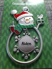 """Christmas Snowman Rare Personalize """"Aiden"""" Collectable Silver Ornament Ganz New"""