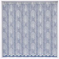OAKLAND CEDAR TREES WOODLAND WHITE MODERN LACE NET CURTAIN SOLD BY THE METRE
