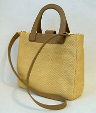 Camel Straw Purse Tan Faux Leather Trim Detachable Shoulder Strap Hand Bag Tote