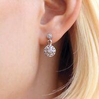 Art Deco Dangle Earrings 0.47ct Round Brilliant Cut Diamond 14k WhiteGold Finish