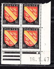 FRANCE COIN DATE BLOC DE 4 TIMBRE NEUF N° 756  ARMOIRIES ALSACE