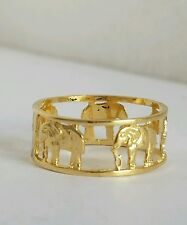 Solid Real 14k Yellow Gold good luck Elephant band ring S 7.5