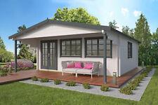 70mm Gartenhaus ISO 600x800cm mit 2 m Vordach Blockhaus Holzhaus Holz Gerätehaus