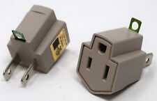 2 Pack 3 to 2 prong AC  Polarized Grounding AC Power Plug Adapter UL RATED GRAY