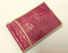 Genuine Crocodile Wallets Alligator Skin Leather Bifold Men's Pink Money Clip