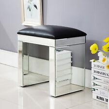 Modern Mirrored Glass Bench Home Dressing Vanity Make-up Padded Stool Furniture