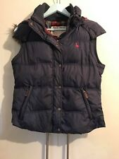 Jack Wills Plain Navy Blue Faux Fur Hooded Checked Padded Gilet Bodywarmer UK 12