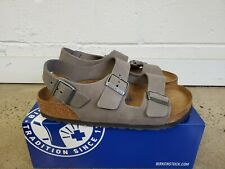 NEW BIRKENSTOCK MILANO REAL LEATHER GRAY SOFT FOOTBED 1017445 SANDALS FOR MEN