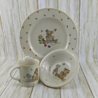 Mikasa Teddy Bear Ceramic 3 piece Children's Dinnerware Set Plate Bowl Cup CC018