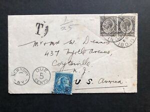 KUT 1929 Cover under rate Nairobi to New York with all  Cds  DUE 5 cents