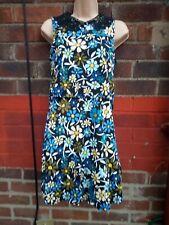 Topshop Vintage 1960s floral dress size 10 Mod lace crochet peter pan Overlay