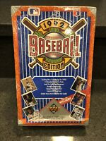 (1) 1992 UPPER DECK BASEBALL LOW SERIES FACTORY SEALED BOX, 36 PACKS