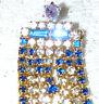 Lovely Vintage Blue-Clear Rhinestone & Purple Rivoli Cascading Brooch/Pin  X29*
