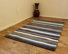 Large Dark & Light Brown Blue Cream Stripe Design 100 Indian Wool Rugs 150x210cm
