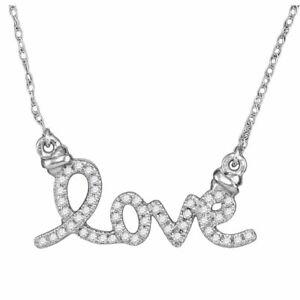 10kt White Gold Womens Round Diamond Cursive Love Pendant Necklace 1/8 Cttw