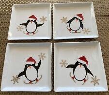 CRATE&BARREL Skating Penguin Holiday Cocktail - Appetizer Porcelain Plates 4