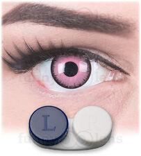 Fun farbige crazy Kontaktlinsen Pink Lunatic für Fasching mit Behälter Halloween
