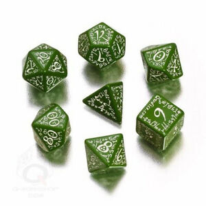 Dice and Gaming Accessories Polyhedral RPG Sets Elvish Dice Set Green/White (7)
