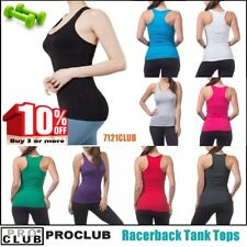 WOMENS Racerback Tank Tops Sleeveless PROCLUB Workout Gym Yoga Solid Undershirt
