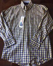 NWT Men's WRANGLER WESTERN Small Long Sleeve L/S George Strait Yellow Blue Shirt