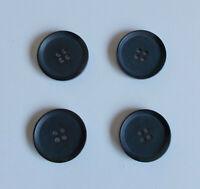 """Set 4 Vintage Large Buttons Black Matte 4-Hole Flat Raised Rim 1-1/16"""""""