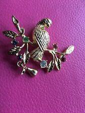 Pear Tree Rhinestones Brooch~Pin Gold Tone Partridge In A
